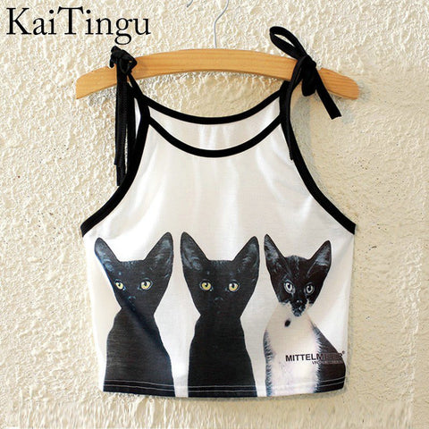 KaiTingu Brand New Fashion Women Sleeveless Three Cat Print Cropped Crop Top Casual Sport Fitness Women Belt Vest Tank Tops - Hespirides Gifts - 1