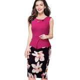 Nice-forever New arrival Print Floral Solid Patchwork Button Casual Work Sleeveless Bodycon Spring Summer office Dress b288 - Hespirides Gifts - 5