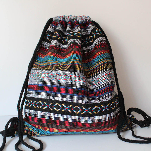 Women Vintage Backpack Gypsy Bohemian Boho Chic Hippie Aztec Folk Tribal Woven String Backpack Female Drawstring Rucksack - Hespirides Gifts - 3