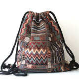 Women Vintage Backpack Gypsy Bohemian Boho Chic Hippie Aztec Folk Tribal Woven String Backpack Female Drawstring Rucksack - Hespirides Gifts - 5