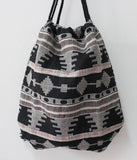 Women Vintage Backpack Gypsy Bohemian Boho Chic Hippie Aztec Folk Tribal Woven String Backpack Female Drawstring Rucksack - Hespirides Gifts - 10