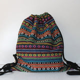 Women Vintage Backpack Gypsy Bohemian Boho Chic Hippie Aztec Folk Tribal Woven String Backpack Female Drawstring Rucksack - Hespirides Gifts - 11