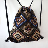Women Vintage Backpack Gypsy Bohemian Boho Chic Hippie Aztec Folk Tribal Woven String Backpack Female Drawstring Rucksack - Hespirides Gifts - 8