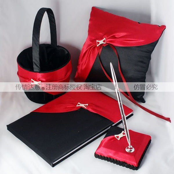 Four wedding sets Guestbook Pen Set Ring Pillow Flower Basket Wedding Black with Red Schemes Collections - Hespirides Gifts