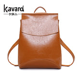 Kavard Famous Brand Backpack Women Backpacks Solid vintage School Bags for Girls black leather backpack mochilas mujer - Hespirides Gifts - 1