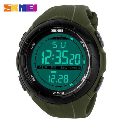 Skmei Men Sports Military Watches LED Digital Man Brand Watch, 5ATM Dive Swim Dress Fashion Outdoor Boys Wristwatches (black) - Hespirides Gifts - 1