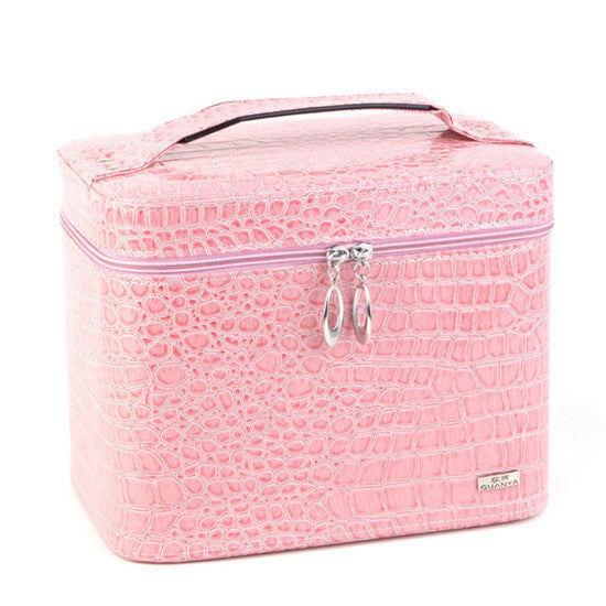 Fashion Alligator Leather women gift box organizer carrying casket Makeup bag Cosmetic bags cases storage boxes - Hespirides Gifts - 3