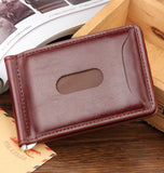 Hot Sale Fashion New Men Money Clips Black Brown PU Leather 2 folded Open Clamp For Money With Zipper Pocket - Hespirides Gifts - 5