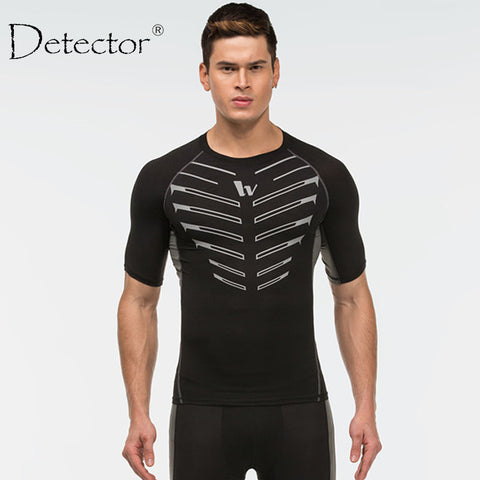 Detector Sport Man Leopard Camiseta Fitness Mens Compression Shirt Crossfit T-Shirt Running Tshirt Homme Cool Gym Clothing - Hespirides Gifts - 1