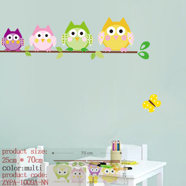wise owls on colorful tree wall stickers for kids rooms animal decorative adesivo de parede removable pvc wall decal zooyoo1016 - Hespirides Gifts - 2