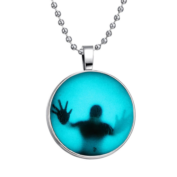 Steampunk Fire Glow in the Dark necklaces Glowing Shadow Pendant Necklace Stainless Steel Chain necklace - Hespirides Gifts