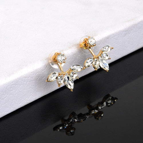 Hot Sale Crystal Double Sided Leaf Earing Fashion Ear Jacket Ear Clips Stud Earrings for Women Bijoux Jewelry Brincos Mujer - Hespirides Gifts - 2
