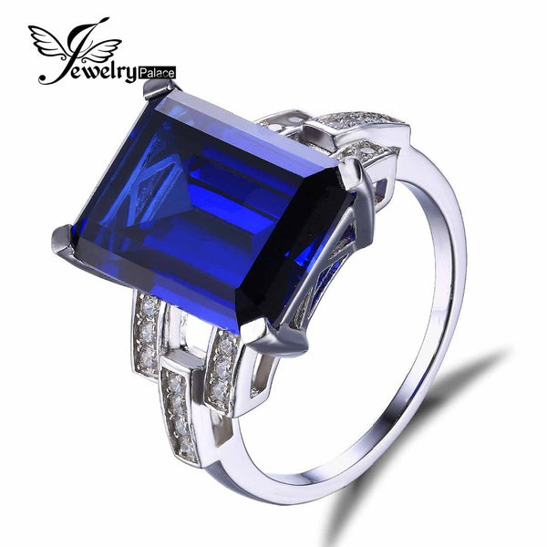 Feelcolor 9.64ct Luxury Elegant Ocean Blue Sapphire Ring Fashion Women Luxury Gift 925 Solid Sterling Silver Jewelry Brand New - Hespirides Gifts