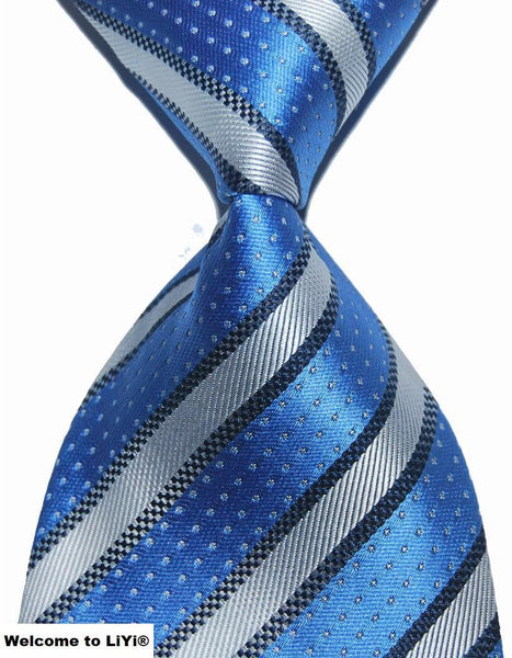 Hot Selling Brand New Classic Striped Tie Multi Dark Gray Red Blue Purple Black Yellow Jacquard Woven 100% Silk Mens Tie Necktie - Hespirides Gifts - 7