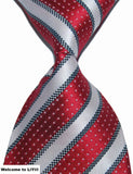 Hot Selling Brand New Classic Striped Tie Multi Dark Gray Red Blue Purple Black Yellow Jacquard Woven 100% Silk Mens Tie Necktie - Hespirides Gifts - 18