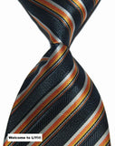 Hot Selling Brand New Classic Striped Tie Multi Dark Gray Red Blue Purple Black Yellow Jacquard Woven 100% Silk Mens Tie Necktie - Hespirides Gifts - 11