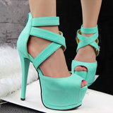 Roman Cross Strap Women Pumps High Platform Candy Color OL High Heel Shoes Sexy Peep Toe Sandals,XWD1274 - Hespirides Gifts - 4