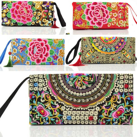 Hot New Embroidered Wallet Purse Handmade Ethnic Flowers Embroidery Women Long Wallet Day Clutch HandBag - Hespirides Gifts - 1