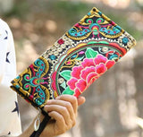 Hot New Embroidered Wallet Purse Handmade Ethnic Flowers Embroidery Women Long Wallet Day Clutch HandBag - Hespirides Gifts - 8