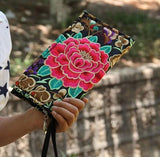 Hot New Embroidered Wallet Purse Handmade Ethnic Flowers Embroidery Women Long Wallet Day Clutch HandBag - Hespirides Gifts - 12