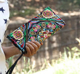 Hot New Embroidered Wallet Purse Handmade Ethnic Flowers Embroidery Women Long Wallet Day Clutch HandBag - Hespirides Gifts - 13