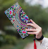 Hot New Embroidered Wallet Purse Handmade Ethnic Flowers Embroidery Women Long Wallet Day Clutch HandBag - Hespirides Gifts - 4