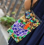 Hot New Embroidered Wallet Purse Handmade Ethnic Flowers Embroidery Women Long Wallet Day Clutch HandBag - Hespirides Gifts - 9