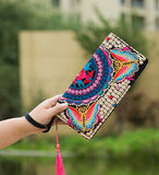 Hot New Embroidered Wallet Purse Handmade Ethnic Flowers Embroidery Women Long Wallet Day Clutch HandBag - Hespirides Gifts - 17