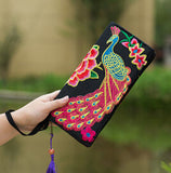 Hot New Embroidered Wallet Purse Handmade Ethnic Flowers Embroidery Women Long Wallet Day Clutch HandBag - Hespirides Gifts - 11