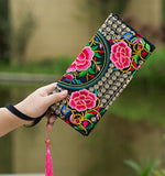 Hot New Embroidered Wallet Purse Handmade Ethnic Flowers Embroidery Women Long Wallet Day Clutch HandBag - Hespirides Gifts - 16