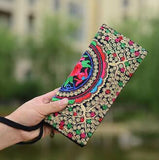 Hot New Embroidered Wallet Purse Handmade Ethnic Flowers Embroidery Women Long Wallet Day Clutch HandBag - Hespirides Gifts - 14