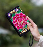 Hot New Embroidered Wallet Purse Handmade Ethnic Flowers Embroidery Women Long Wallet Day Clutch HandBag - Hespirides Gifts - 15