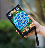 Hot New Embroidered Wallet Purse Handmade Ethnic Flowers Embroidery Women Long Wallet Day Clutch HandBag - Hespirides Gifts - 7