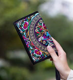 Hot New Embroidered Wallet Purse Handmade Ethnic Flowers Embroidery Women Long Wallet Day Clutch HandBag - Hespirides Gifts - 5