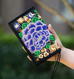 Hot New Embroidered Wallet Purse Handmade Ethnic Flowers Embroidery Women Long Wallet Day Clutch HandBag - Hespirides Gifts - 2