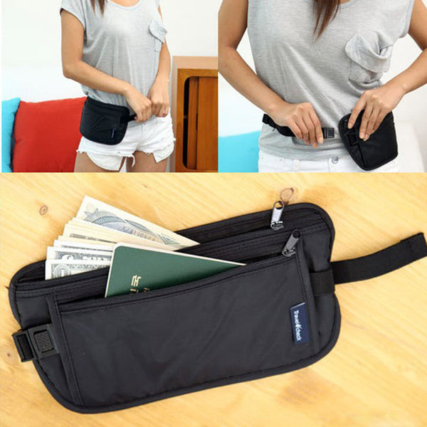 Travel Sport Pouch Bag Hidden Compact Security Money Waist Belt Holder Pocket #L09582 - Hespirides Gifts