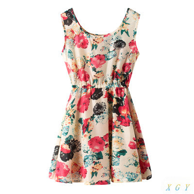 High Quality Summer Fashion Summer Sleeveless Vest Chiffon Casual Women Dress Printing Large Flowers Beach Dress CC2814