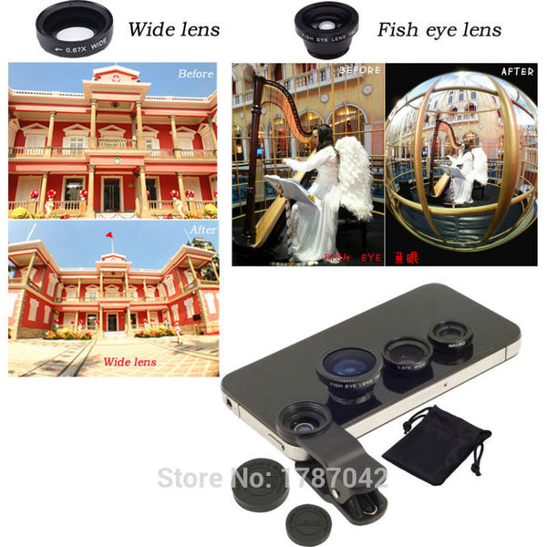 Universal Clip 3 in 1 Fish Eye Wide Angle Macro Fisheye Mobile Phone Lens For iPhone 6 5 5S 4 4S Samsung HTC Nokia - Hespirides Gifts