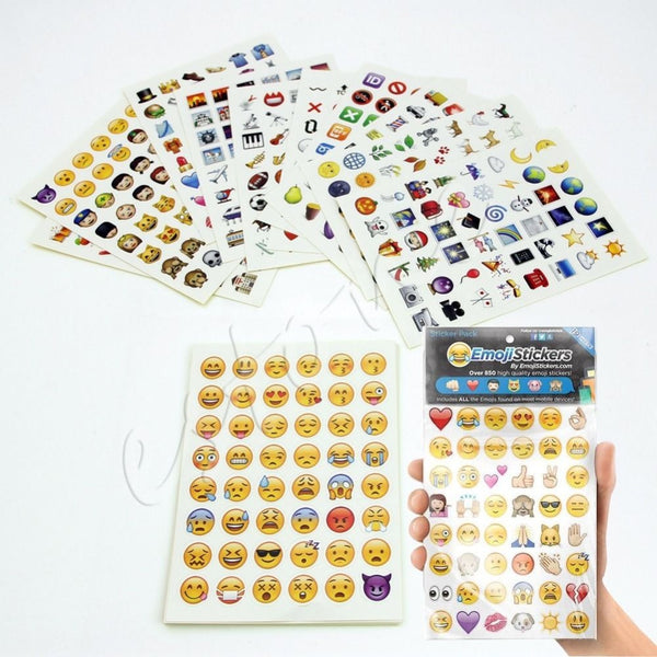 Emoji Sticker Pack 912 Emoji Stickers Most Popular Emojis For Mobile Phone Kids Rooms Home Decor Tablet 19 Sheets/Pack - Hespirides Gifts