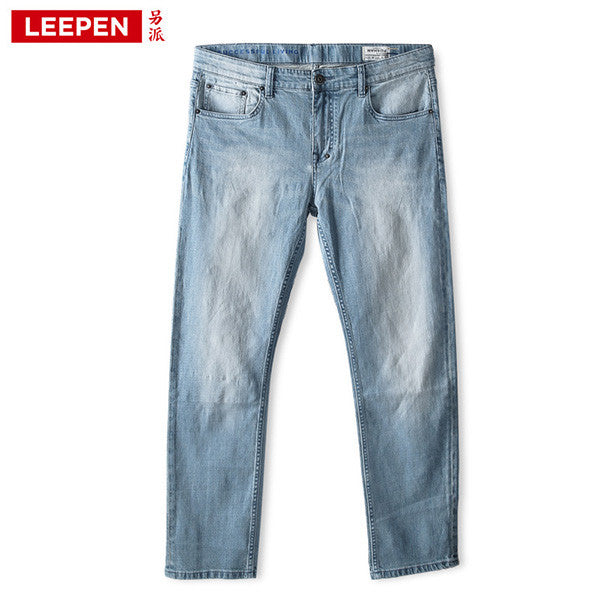 Leepen Fashion Cotton Men's Denim Knitted Jeans Big & Tall Leisure Slim Fit Men Jeans Male Pants Plus Size 34-52 LP4018 - Hespirides Gifts - 2