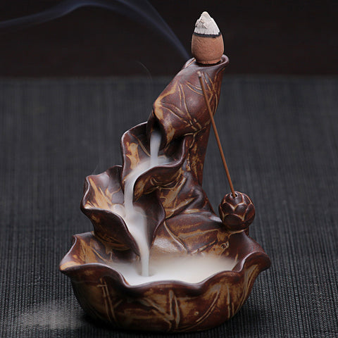 E Chinese Pottery Crafts Creative Home Decor Lotus Pond Smoke Back Flow Cone Incense Sticks Burner Censer - Hespirides Gifts - 1