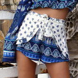 Simplee Apparel elegant boho print summer shorts women Vintage beach elastic mid waist shorts Casual one piece bow party shorts - Hespirides Gifts - 4