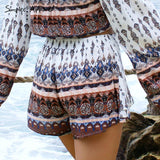 Simplee Apparel elegant boho print summer shorts women Vintage beach elastic mid waist shorts Casual one piece bow party shorts - Hespirides Gifts - 2