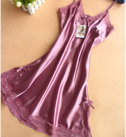 Ladies Sexy Silk Satin Night Dress Sleeveless Nighties V-neck Nightgown Plus Size Nightdress Lace Sleepwear Nightwear For Women - Hespirides Gifts - 1