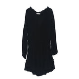 Effortless Summer Cotton Long-Sleeve V-neckline Boho Mini Dress Ruffled Hem With Beachy Raw Trim Tunics Women Dresses