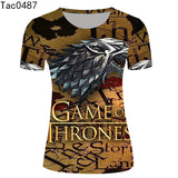 Game of Thrones 3D T Shirts Women Cat Pattern Printed T-shirts Design Sexy Camisetas O Neck Tees Top
