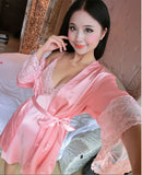 new arrival 2 pcs lace robe+nightgown silk imitation women pajamas sexy lace robe sets plus size women cardigans - Hespirides Gifts - 2