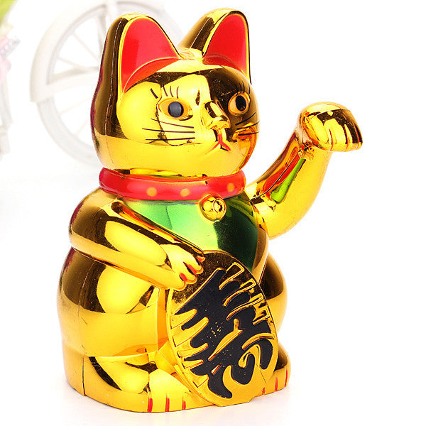 New Arrival Plastic Electric Waving Lucky for Cat Feng-Shui Lucky MoneyCat Maneki Neko Gold by AA Battery - Hespirides Gifts