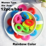 TS 12pc Dia 3CM Hot candy-colored hair rope wholesale telephone wire hair band Hair Accessories women Rubber bands Girl Hair Gum - Hespirides Gifts - 6