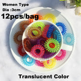 TS 12pc Dia 3CM Hot candy-colored hair rope wholesale telephone wire hair band Hair Accessories women Rubber bands Girl Hair Gum - Hespirides Gifts - 4